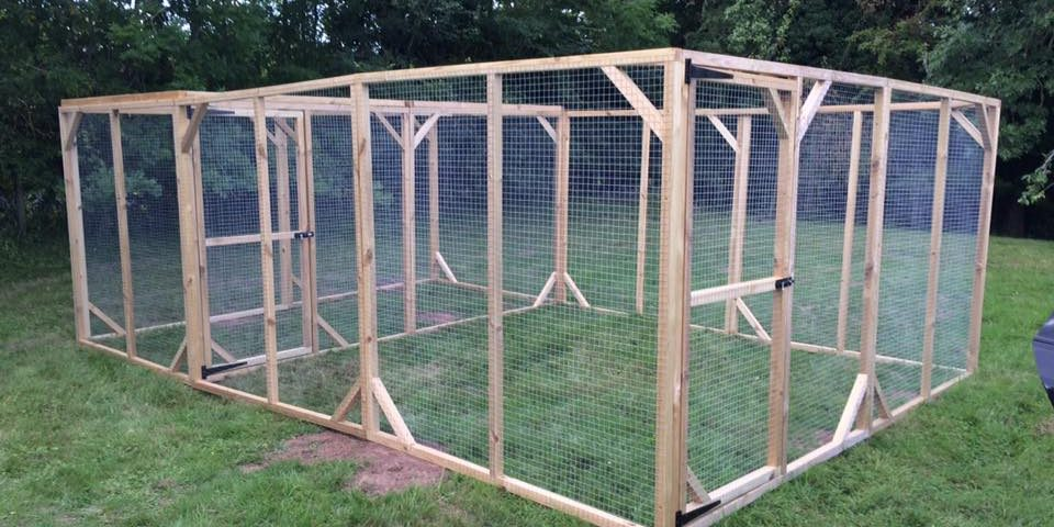 Wooden framed cages