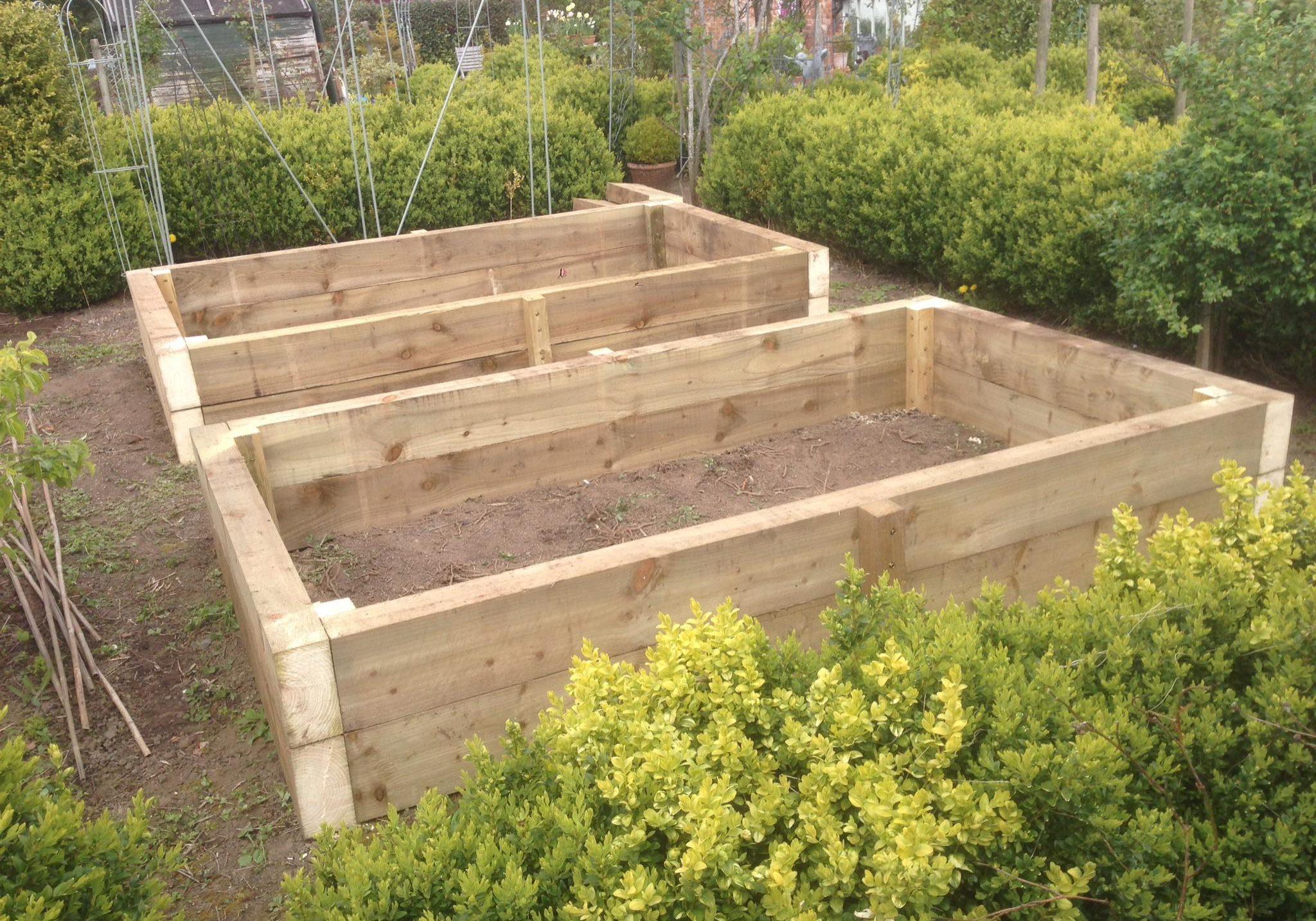 Wooden blocks in a garden